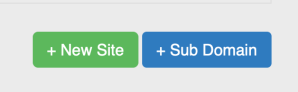 New Site and SubDomain buttons